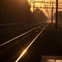Sunrise at the train station St Martin de Crau - France