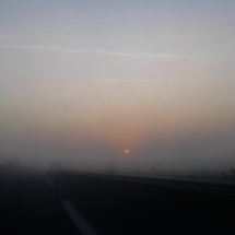 Foggy morning A54 St Martin de Crau - France