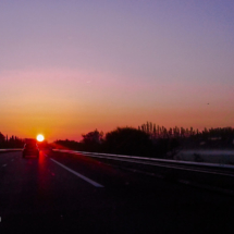 Motorway A54 at Sunrise - St Martin de Crau - France