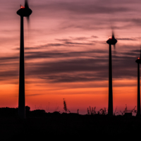 Sunset Wind Turbine Clouds