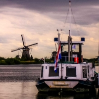 Typical landscape and boat - Dordrecht - Netherlands