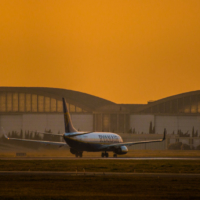Sunset over airport - Marignane - France_